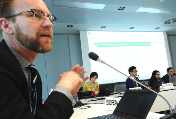 Petter Lydén talar för EU i FN:s klimatförhandlingar i Bonn, maj 2018
