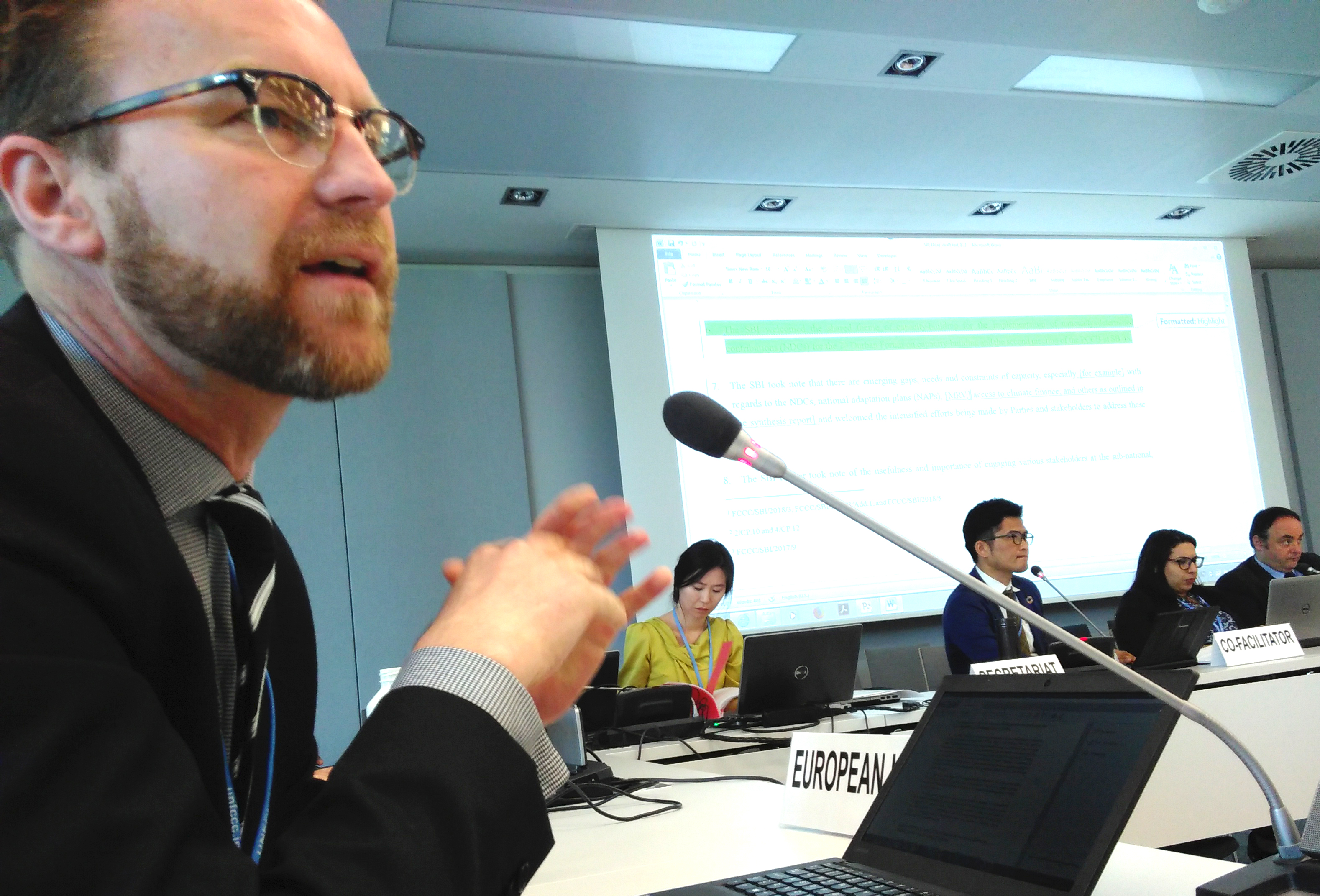 Petter Lydén speaking for the EU in UN climate negotiations, Bonn, May 2018